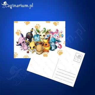 Pocztówka Pokemony Eevee Rodzinka