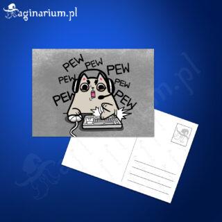 Pocztówka Pew Pew Pew - kotek z klawiaturą