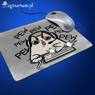 Podkładka pod mysz Pew Pew Pew - kotek z klawiaturą